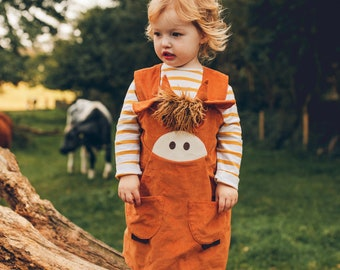 Highland cow, coo, ox, girls  pinafore dress