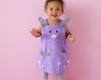 Girls Bunny play dress in soft lavender cord with liberty print ears