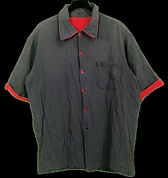 VTG 40s 50s Atomic Fleck Blue Red Shirt Mens SZ XL