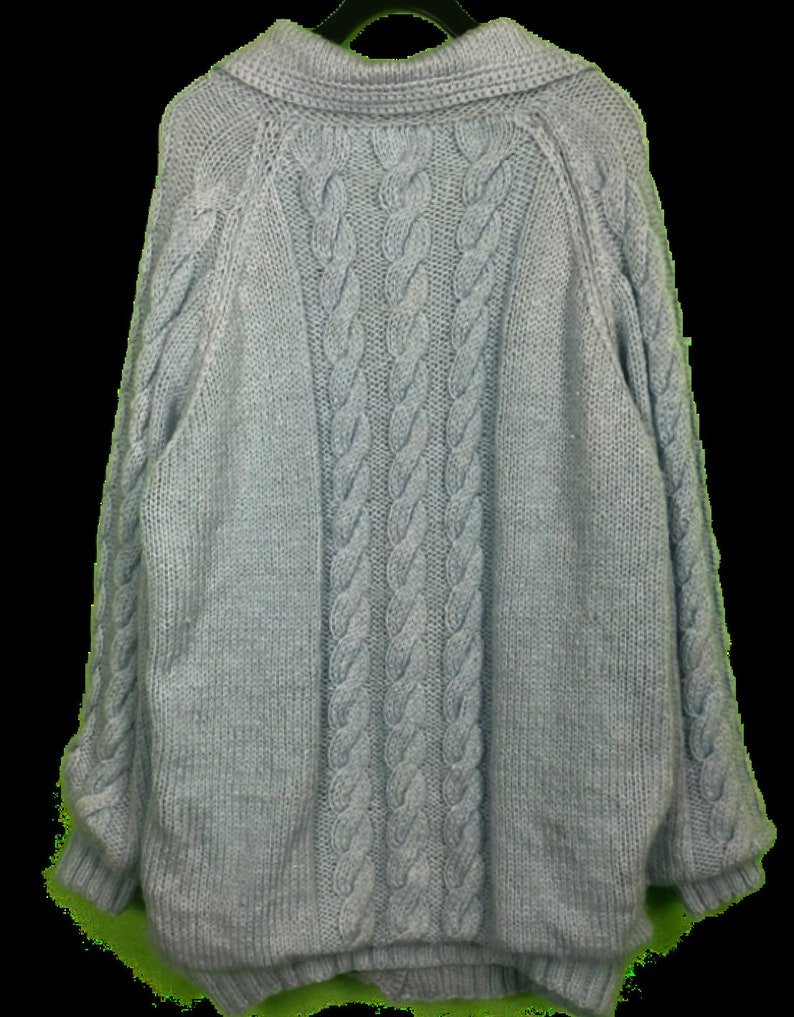 VTG 80s Lined Thick Baby Blue Wool Cable Knit Cardigan Mens SZ XL Street Wear A9
