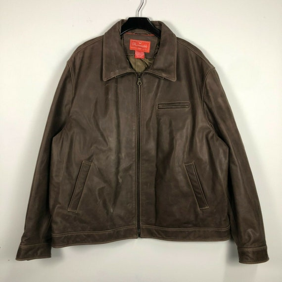 Faconnable Jeans Dark Brown Leather Bomber Jacket