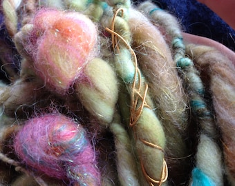 Bulky Handspun Art Yarn, Soft, Knotty, Glittery Wool, Vegan Cashmere, Silk-- What Love Is (14 yds) -