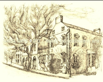 The Olde Pink House of Savannah Georgia. Sepia hand-touched original print.