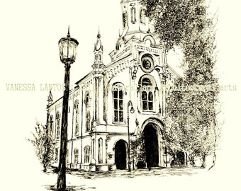 Lutheran Church of the Ascension. Savannah GA, (Founded 1741). Sepia hand-touched original print.