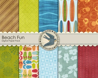 "Digital Scrapbook Paper Pack Instant Download - Beach Fun - 10 digital papers 12"" x 12"" for summer, beach, ocean, sea"