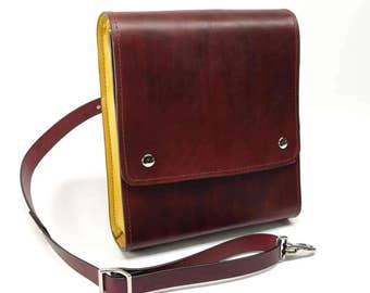 Medium Leather Messenger Bag v2.1 - Burgundy & Yellow - CLEARANCE -