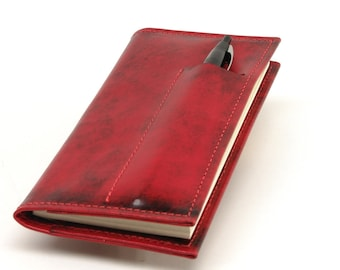 Leather Checkbook Wallet with Pen and Card Slots