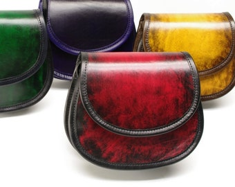 Smiley Leather Crossbody Saddle Bag