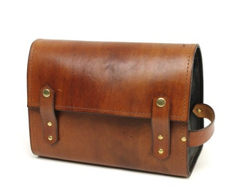 Light Brown and Black Dopp Kit - CLEARANCE -