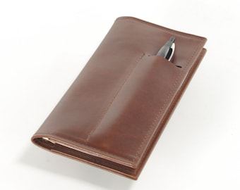 Leather Checkbook / Card Wallet, with Pen Slot