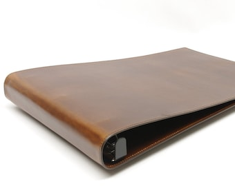 Leather 3 Ring Ledger Binder Notebook - 1 inch and 1 1/2 inch - for 11 x 17 Sheets TABLOID LEDGER SIZE