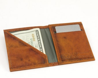 Minimalist Leather Vertical Bifold Wallet