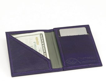 Vertical Bifold Leather Minimalist Wallet
