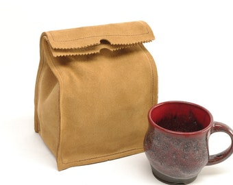 Leather Paper Bag Lunch Bag