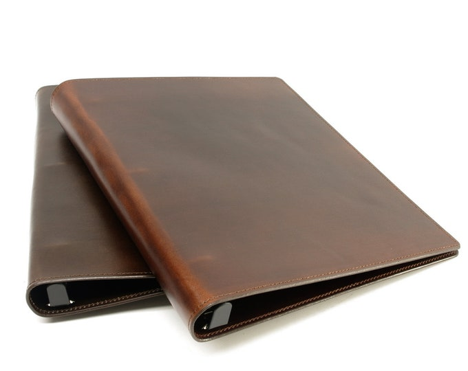 Featured listing image: Leather 3 Ring Binder Notebook - Letter and Ledger Sizes Available
