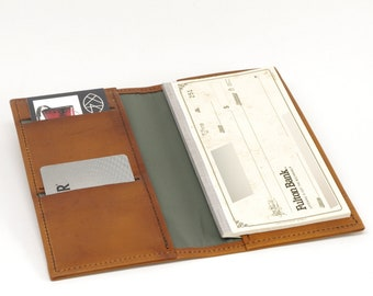 Leather Checkbook Wallet with Card Slots and Pen Slot