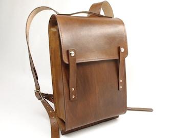 Light Brown Medium Leather Rucksack - CLEARANCE -
