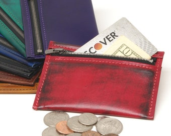 Leather Zippered Coin Purse
