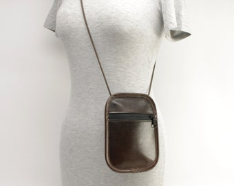 Small Phone/Passport Bag, Chocolate Brown - CLEARANCE -