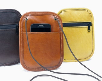 Small Leather Phone / Passport Crossbody Bag - CLEARANCE -