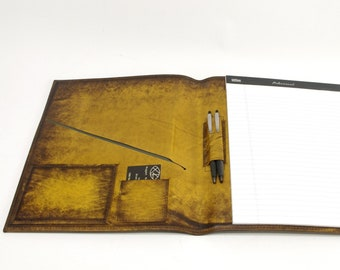 Large Leather Notebook - Yellow Starburst - CLEARANCE -