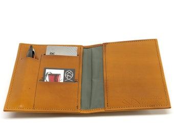 Leather Top Stub Checkbook Cover, with Pen and Card Slots