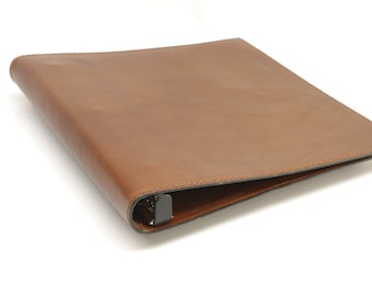 1 Inch Leather 3 Ring Binder Notebook - Light Brown - CLEARANCE -