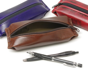 Leather Zippered Pencil Case