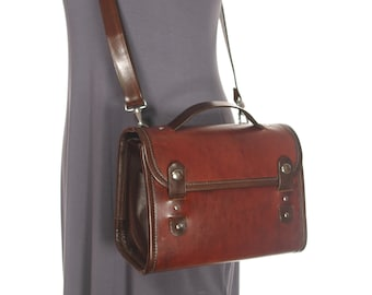 Medium Leather Messenger Crossbody Purse (snap tab version)