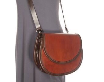 Large Smiley Leather Crossbody Saddle Bag