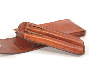 Leather Double Fountain Pen Case, with Insert (The Pen Guardian)