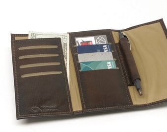 Leather Minimalist Long Magnetic Flap Wallet for Men and Women with Zipper Pocket