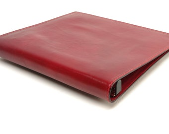 1 Inch Leather 3 Ring Binder Notebook - Red - CLEARANCE -