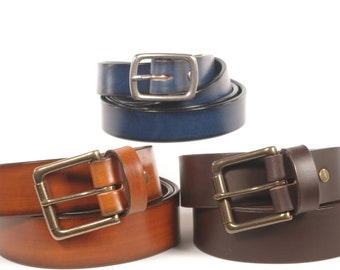 Bridle Leather Belt: Superior Quality Hand Dyed Leather, with Solid Brass Hardware - 1 1/2 inch, 1 1/4 inch, 1 inch, 3/4 inch