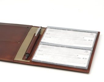Leather 4-Book Checkbook Cover Organizer, for Regular or Top Stub Checkbooks