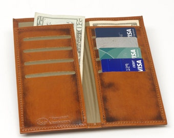 Leather Long Bifold Wallet with 2 Cash Pockets and 8 Card Slots