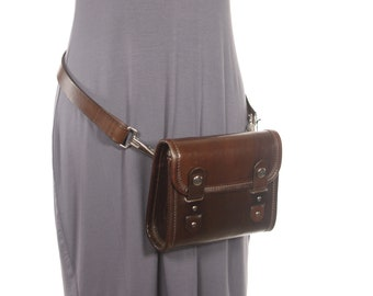Chocolate Brown Leather Hip Pack / Cross Body Bag - Chocolate - CLEARANCE