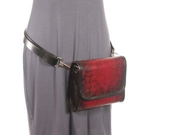 Red Starburst Leather Hip Pack / Cross Body Bag - Red Starburst - CLEARANCE