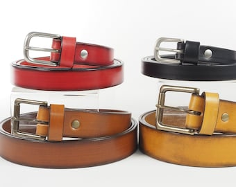 Bridle Leather Belt with Solid Brass Heel Bar Buckle and Keeper Loop - 1 1/2 inch, 1 1/4 inch, 1 inch, 3/4 inch