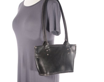 Small Leather Tote Bag with Magnetic Closure - Black - CLEARANCE