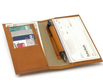 Leather Bifold Cash / Card / Checkbook Wallet, with Pen Slot
