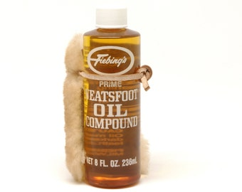 Fiebing's Prime Neatsfoot Oil Compound, 8oz Bottle, with Sheepskin Applicator