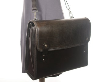 Leather Messenger Style Briefcase - Black - CLEARANCE