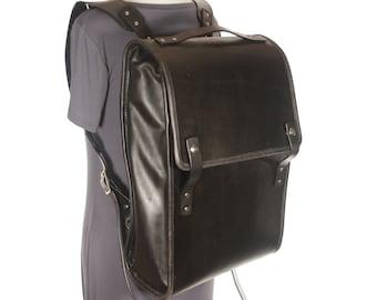 Large Black Leather Backpack / Rucksack / Travel Bag - Black - CLEARANCE