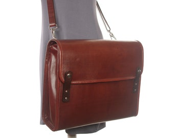 Mahogany Leather Messenger Style Briefcase - Mahogany - CLEARANCE