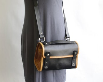 Small Black and Tan Leather Messenger Crossbody Purse (orignal style) - CLEARANCE -