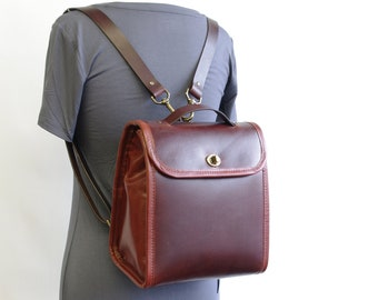 Small Leather Backpack, with Magnetic and Turn Lock Closure