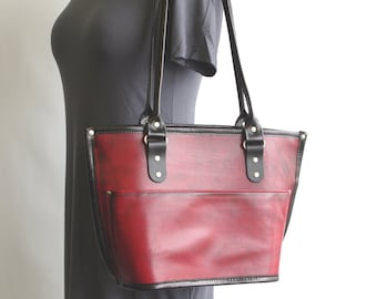 Medium Leather Tote Bag v2 (zippered closure)