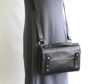 Small Black Leather Messenger Crossbody Purse (orignal style) - CLEARANCE -
