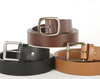 EXTRA LONG Quality Bridle Leather Belt - 1 1/2 and 1 1/4 inch Wide, for Big and Tall XL Sizes